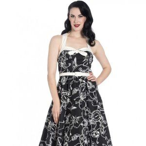 Hell Bunny Black and White Retro Compass Dress 2X